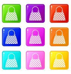 Beautiful bag icons 9 set vector