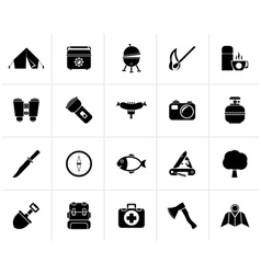 Black camping travel and tourism icons vector