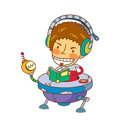 boy wearing headphones vector image vector image