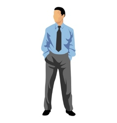 Business man in blue shirt vector image vector image