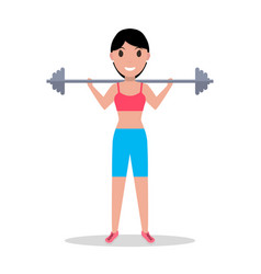 Cartoon girl holding heavy barbell vector