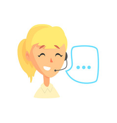 Female call center agent and speech bubble online vector