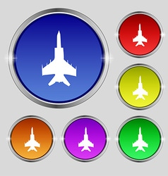 Fighter icon sign round symbol on bright colourful vector