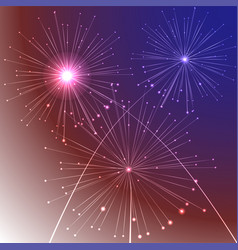 Fireworks background with american flag colors and vector