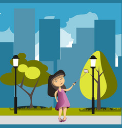 flat girl with phone selfie in park vector image vector image