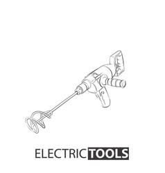 Hand tool concrete mixer vector