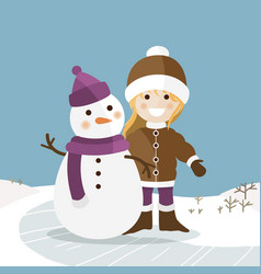 happy girl with her snowman on a sunny winter day vector image vector image