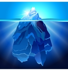 Iceberg in water realistic background vector