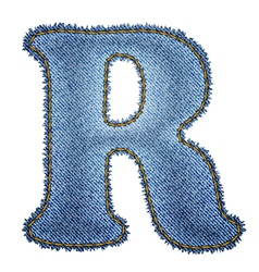Jeans alphabet denim letter r vector