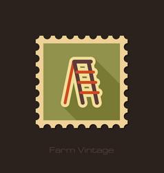Ladder stepladder stair retro flat stamp vector