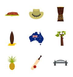 Landmarks of australia icon set flat style vector