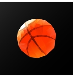 Low poly pattern basketball on a black background vector