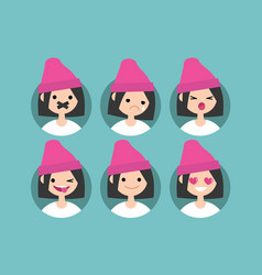 Millennial girl profile pics set of flat vector