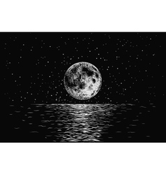 moon reflecting in a sea vector image