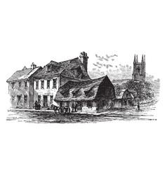Old houses in newport vintage vector
