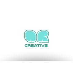 pastel green alphabet letter qr q r combination vector image