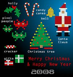 pixel family Christmas vector image