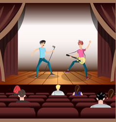 Rock band concert guitar and musician on stage vector