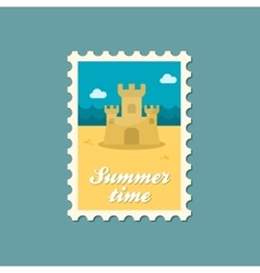 Sand castle flat stamp summertime vector