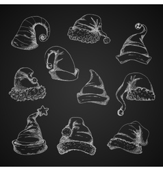 Santa hats sketch icons vector