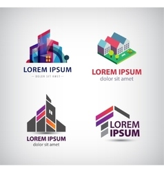 Set of building houses city town logos vector