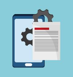 smartphone document gear work vector image vector image