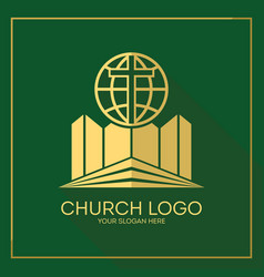 Stylish cross of jesus christ globe vector