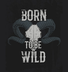 tee print skull mountain goat with horns t-shirt vector image