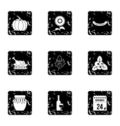 Thanksgiving day icons set grunge style vector