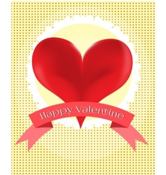 Valentines card with red heart vector
