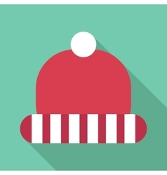 Winter red hat with white stripes icon flat style vector