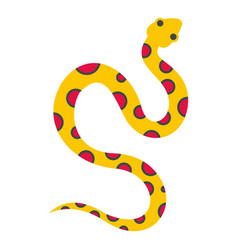 Yellow snake with pink spots icon isolated vector