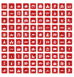 100 building icons set grunge red vector