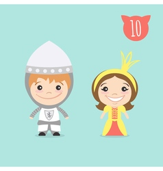 Two happy cute kids characters boy in knight vector