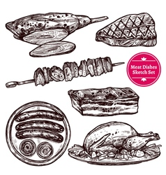 Meat dishes set vector