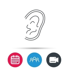 Ear icon hear or listen sign vector