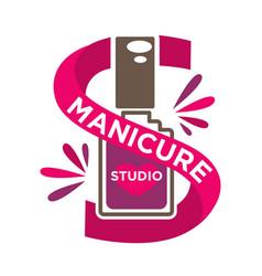 bright manicure studio label with purple vector image