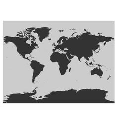 Map of world dark grey silhouette high vector