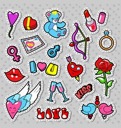 Love and romance doodle with hearts lips vector
