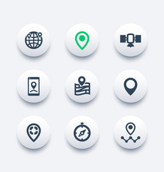navigation icons set location marks map pointers vector image
