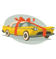Retro car is a present vector image