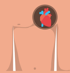 Pain in the chest and heart attack symptoms vector