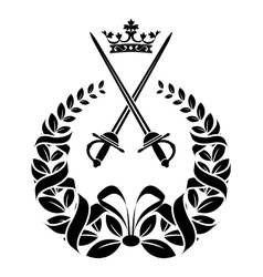 Royal laurel wreath with swords vector image