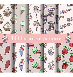 Cake seamless patterns set vector