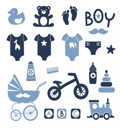 Baby boy icons set vector image