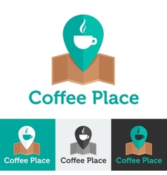 flat coffee shop or cafe logo set vector image