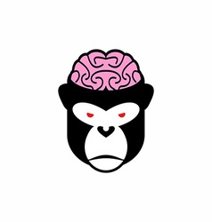 Monkey brains logo head animal pink brain vector