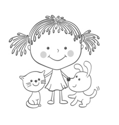 Girl kitten puppy vector