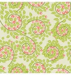 Cute seamless pattern with berries and leaves vector