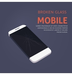 Broken phone screen repair vector